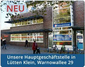 Die Hauptgeschäftsstelle in der Warnowallee 29 in Lütten Klein